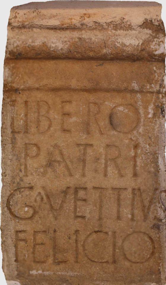Gaio Vettio adicou a Liber Pater (Baco) unha ara romana