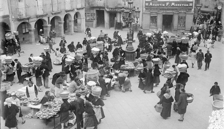 Mercado do Roscón en Vigo (1925). Arquivo Pacheco. Concello de Vigo