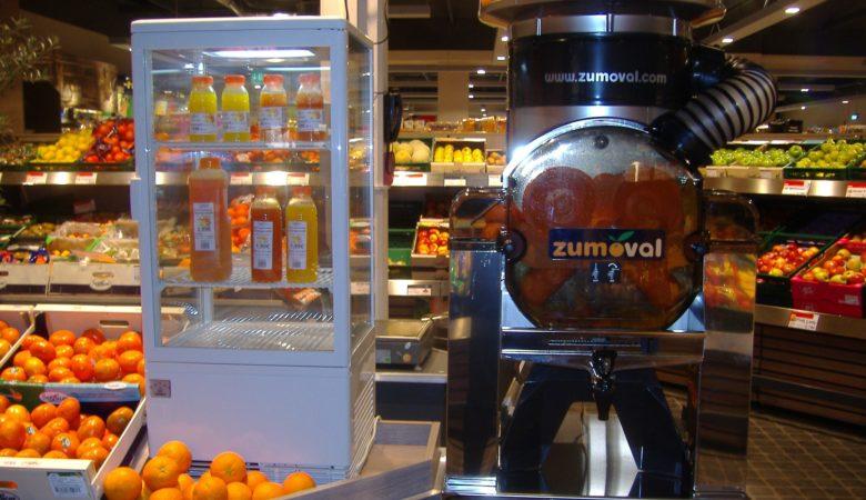 Máquinas exprimidoras de zume dos supermercados