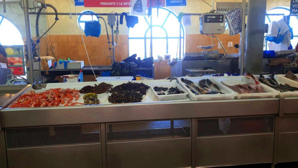 Postos no mercado de Pontevedra.