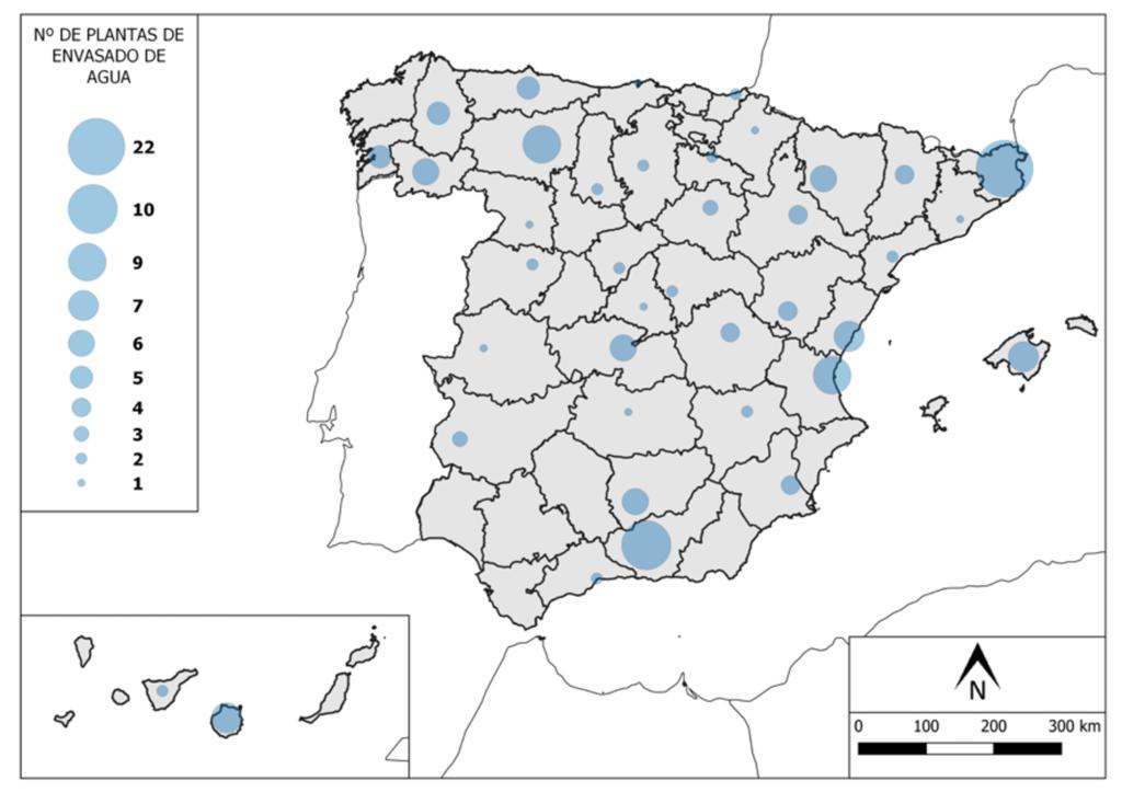 Plantas de envasado de auga en España.