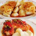 As dúas grandes especialidades de Casa Salvador: caldeirada e bacallau ao forno.